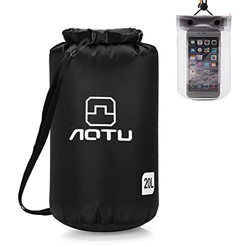 Flytise Mochila ultraligera e impermeable de 20 litros con funda impermeable para teléfono móvil, para kayak, camping, pesca, surf, rafting, bolsa ligera e impermeable