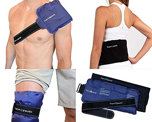 """Thermopeutic Reusable Ice Pack for Injuries Unisex (15"""" X 7"""") - Extra Long Lasting Gel Cold Pack Ice Wrap for Pain Relief and Surgery - Shoulder, Lower Back, Knee, Arm, Foot, Hip and More"""