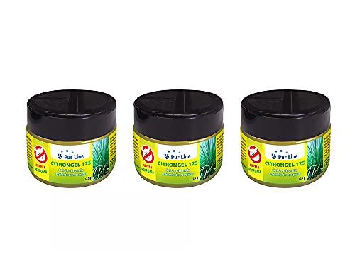 PURLINE Pack de 3 latas 125 gr Cada una de Gel de citronela Repelente de Mosquitos CITRONGEL