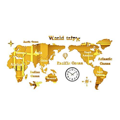 GGMWDSN Relojes de Pared, Adhesivo de Pared con Mapa del Mundo 3D DIY, Decorativo para Oficina, Estudio, Sala de Estar, Sofá, Fondo, Adhesivo para Pared, Reloj de Pared Silencioso, con Reloj De Pared