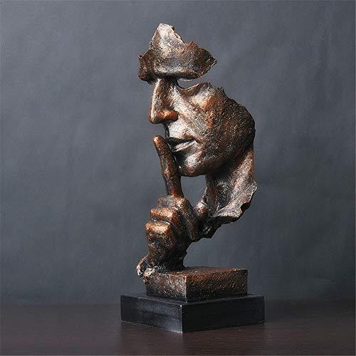 LWZY Il Silenzio è Una Statua Dorata di Creativa,Moderno Semplice Artigianato Ornamenti, Arte Decorazioni Scultura per Ufficio Soggiorno Bar Café -E 12x13x34cm(5x5x13inch)