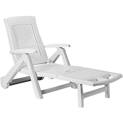 Casaria Chaise Longue Zircone Pliable Blanc Plastique PVC Dossier réglable 5 Positions 2 Roues Bain de Soleil Jardin terrasse extérieur
