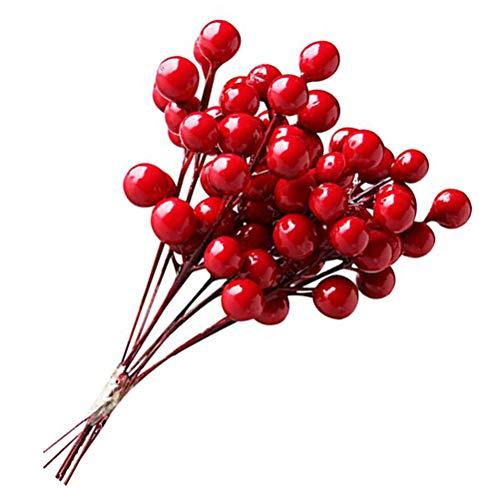 jemous rode bessen DIY bessen stelen Holly met bessen Props voor krans Kerstmis vakantie Garland 12 stuks