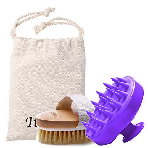 Schampo borste badborste kit paket 2 med hårborste silikon hårbotten massageapparat och torr hud kroppsborste exfoliera förbättra blodcirkulationen för daglig användning eller present, lila