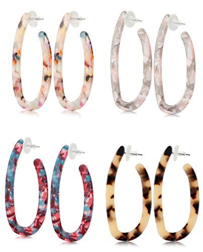 Finrezio 4 Pairs Acrylic Mottled Hoop Earrings for Women Dangle Stud Earrings Set Bohemian Statement Earrings Resin Jewelry