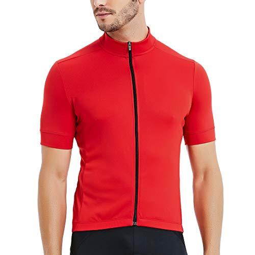 CATENA Men's Cycling Jersey Short Sleeve Shirt Running Top Moisture Wicking Workout Sports T-Shirt Red, Medium