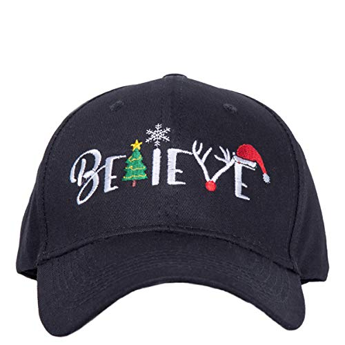 Christmas Tree Hat Believe for Women Hat Baseball Dad Cap Funny Holiday Party Hats (Black-3)