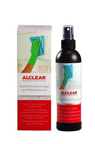 ALCLEAR 721KR Küchenfrontenreiniger 250ml und Profi Mikrofasertuch, reinigt Hochglanz lackierte Küchen streifenfrei, gegen Schmutz, Fingerabdrücke & Fett