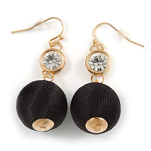 Black Silk Cord Ball with Clear Crystal Drop Earrings In Gold Tone - 50mm L