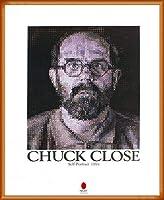 ポスター チャック クロース セルフポートレイト 1991 額装品 ウッドベーシックフレーム(オレンジ)