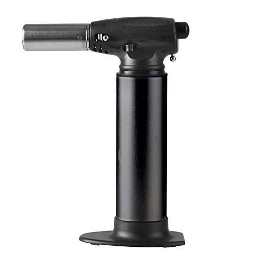 Heavy Duty Micro Blow Torch- Torch for Soldering- Plumbing- Big Refillable Butane Torch- Jewelry-Torch for Home and Kitchen-Adjustable Flame-Security Lock (Black)