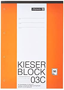 Kieser-Block A4 mit 50 Blatt, 1 Stück 80 g/m ² Schreibpapier Lineatur 3, KIESER 07 0003 C Vier-fach gelocht