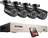 ZOSI 8 Channel CCTV Camera Systems H.265+ 1080P DVR Security System w/ 4x 1080P Outdoor CCTV Cameras for Home...