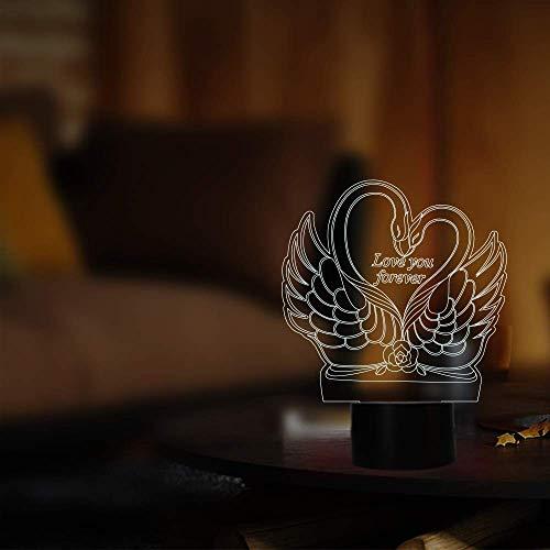 Le cygne amour formes lampe de nuit 7 couleurs décor pour Home Store Cafe comme grand cadeau pour les enfants amoureux ami cadeau d'anniversaire