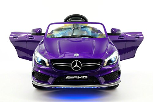 Moderno Kids Mercedes CLA45 Children Ride-On Car with R/C Parental Remote 12V Battery Power LED Wheels Lights + 5 Point Seat Belt + MP3 Music Player + Baby Tray Table + Rubber Floor Mats (Purple)
