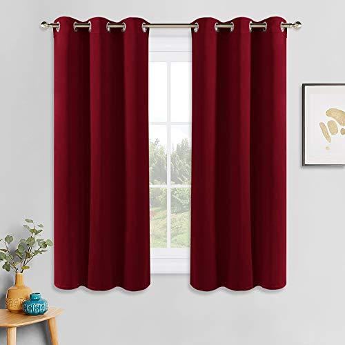 PONY DANCE Gardinen Blickdicht Ösenvorhang - (2er Set H 158 x B 106 cm) Thermovorhang Verdunkelung Weihnachten Gardinen für Schlafzimmer, Rot
