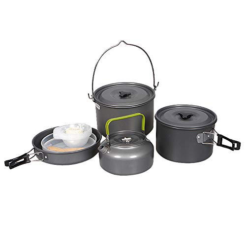 Facibom Camping Cookware Set Portable Outdoor Tableware Kettle Pot Cookset Cooking Pan Bowl for Hiking Picnic