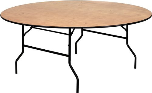 Flash Furniture 72'' Round Wood Folding Banquet Table with Clear Coated Finished Top