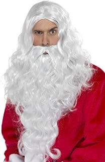 Costume de Père Noël Saint Nicolas Lot 4 Pièces Barbe Perruque Lunettes Pipe