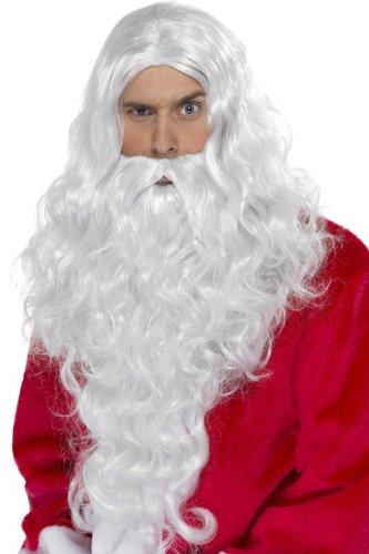 Perruque + barbe de Pere Noel adulte - Deguisement - Argente - 179