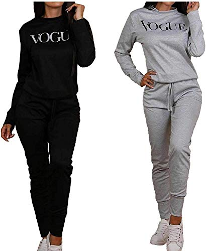 New Womens Ladies Sexy Vogue Print 2 Pieces Loungewear Tracksuit Ladies Winter Wear Top and Jogger Set (Grey, 8-10)