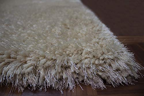 8x10 Feet Beige Cream Color Two Tone Shag Shaggy Fluffy Fuzzy Furry Solid Area Rug Carpet Rug Indoor Bedroom Living Room Decorative Designer Modern Contemporary Plush Polyester Made Canvas Backing