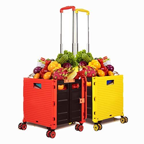 Einkaufstrolley, Klappbar Transport Trolley, Shopping Cart, Trolley mit Deckel, Faltbar Einkaufstrolley Einkaufswagen Faltbox Rot, bis 50kg, Teleskopgriff Ausziehgriff Aluminium Kunststoff