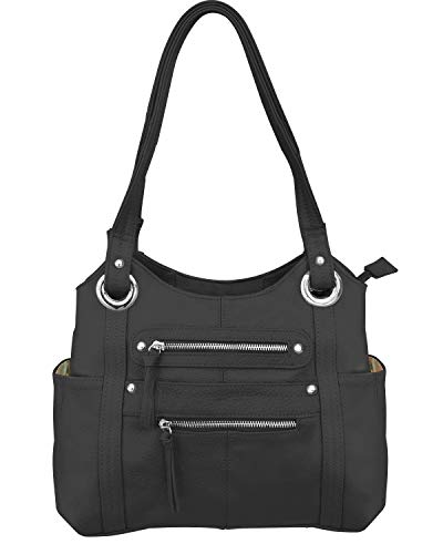 Roma Leathers Leather Locking Concealment Purse - CCW Concealed Carry Gun Shoulder Bag, Black (7008-BLK)