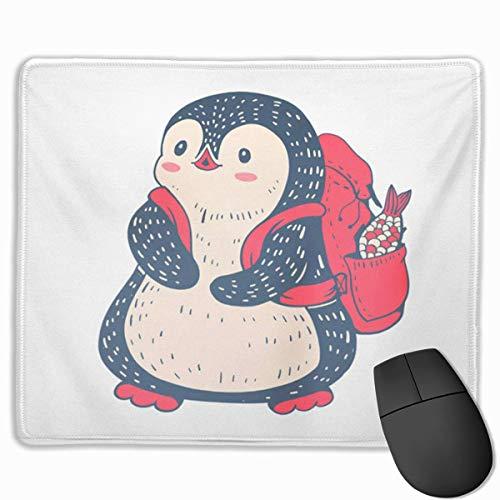 Nettes Gaming-Mauspad, Schreibtisch-Mauspad, kleines Mauspad für Laptop-Computer, Maus-Matte-Baby-Winter-lustiger Cartoon-Pinguin-Rucksack und Fisch-Zusammenfassung