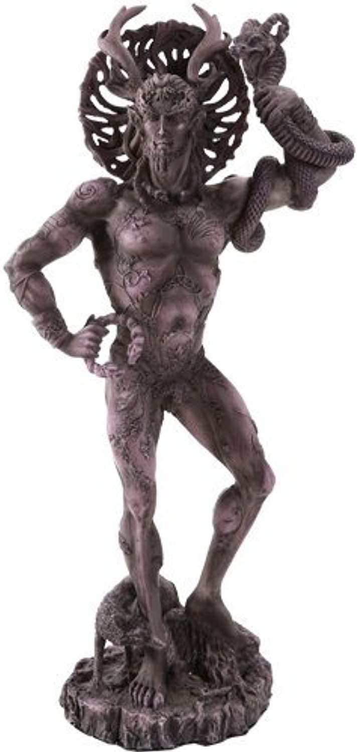 Celtic Horned God Cernunnos Collectible Statue by Artist Maxine Miller 10 Inch (Grey Stone)
