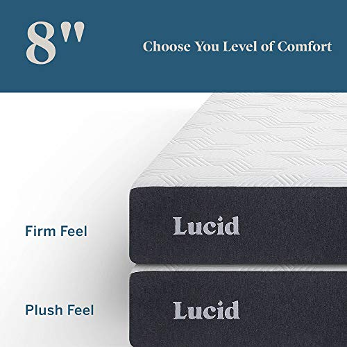 LUCID 8 Inch Gel Memory Foam-Mattress – Firm Feel – Gel Infusion – Hypoallergenic Bamboo Charcoal – Breathable-Cover, King