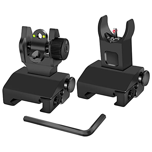 AWOTAC Tactical Fiber Optics Low Profile Flip up Iron Sight with Visible Front Red Dot Sight and Rear Green Dot Sight Fit Picatinny Weaver Rails