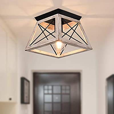 SGLfarmty Semi Flush Mount Ceiling Light Farmhouse Vintage Open-Caged White Industrial Close to Ceiling Light Fixture for Hallway Porch Bathroom