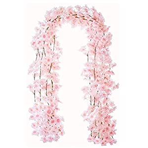 Ruosaren 4pcs Artificial Cherry Blossom Flower Vines Hanging Silk Flowers Garland for Wedding Party Home Decor, 5.9 Feet