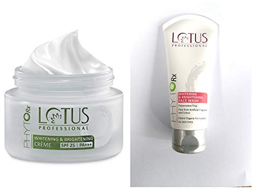 Lotus Professional Phyto Rx Whitening And Brightening Creme, SPF 25 PA+++, 50g & Lotus Professional Phyto-Rx Whitening and Brightening Face Wash, 80 g