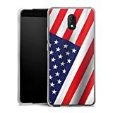DeinDesign Silikon Hülle kompatibel mit Wiko Lenny 5 Hülle transparent Handyhülle Flagge USA Amerika