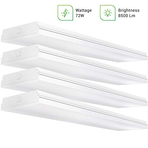 "Sunco Lighting 4 Pack Wraparound 11"" Wide LED Shop Light, 4 FT, Linkable, 72W, 8500 LM, 5000K Daylight, Integrated, Prismatic Lens, Direct Wire, Flush Mount Fixture, Garage - ETL"