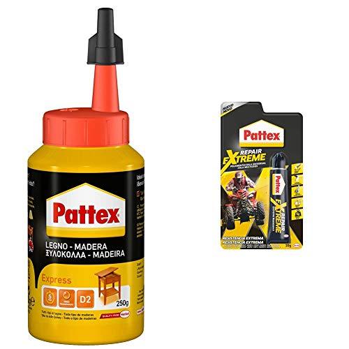 Pattex Cola para madera, de rápido secado y con un acabado transparente, 250 gr + Pattex Repair Extreme, pegamento multiusos que no contrae, pegamento para interiores y exteriores, 1 x 20 g, tubo