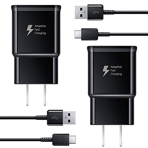 Adaptive Fast Charger kit with USB Type C Cable【6.6 ft】 Compatible with Samsung Galaxy S21/S21 Ultra/S20/S20+/S10/S10+/S10e/S9/S9+/S8/S8Plus/Edge/Active/Note 8/9/10/20 (2 Pack)
