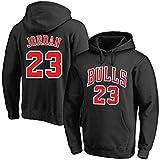 GZZ Sudadera con capucha de baloncesto para hombre/mujer Jersey Michael Jeffrey Jordan # 23 Chicago Bulls Sudadera suelta entrenamiento/jogging manga larga Chaqueta delgada