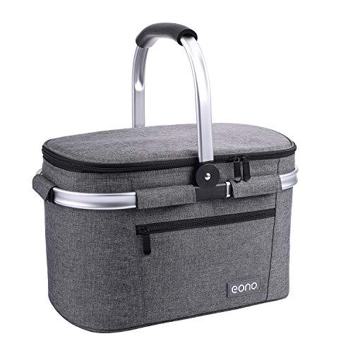 Eono by Amazon - 2-Personen-Picknickkorb 22L, isolierter Korb, Kühltasche für den Außenbereich, Dunkelgrau, M