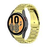 Correa Reloj 20mm Compatible con Galaxy Watch 4 44mm/40mm y Galaxy Watch 4 Classic 46mm/42mm,Correa de Reloj Metal Acero Inoxidable,Pulsera Galaxy Watch 4,Oro