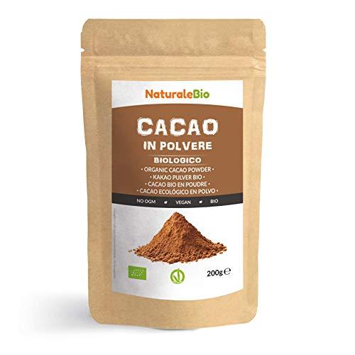 Cacao Biologico in Polvere 200g. 100% Bio, Naturale e Puro da Fave Crude. Prodotto in Perù dalla Pianta Theobroma Cacao. Lavorato a basse temperature. Fonte di Magnesio e Fosforo. NaturaleBio