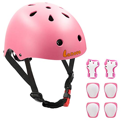 Lanova Toddler Helmet for 3-8 Years Kids Helmet Knee Elbow Pads Wrist Guards Adjustable Bike Skating Skateboard Helmet for Kids