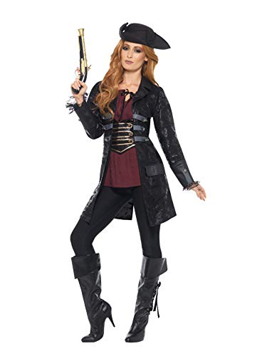 Smiffys Jacket, Ladies Chaqueta Pirata para Mujer, Color Negro, L-UK Size 16-18 (47359L)