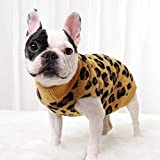 PASRLD Dog Sweater Leopard Pattern Dog Turtleneck SweatersKnitwear Warm Pet Sweater for Fall Winter (M, Yellow)