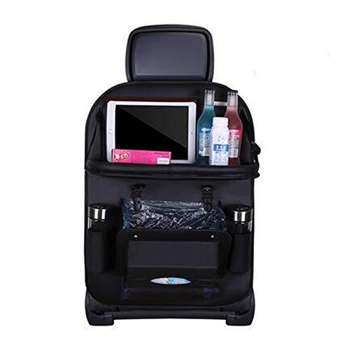 車用シートバックポケット アップグレード 車用ゴミ箱機能付き 車用収納ポケット (ブラック ゴミ)