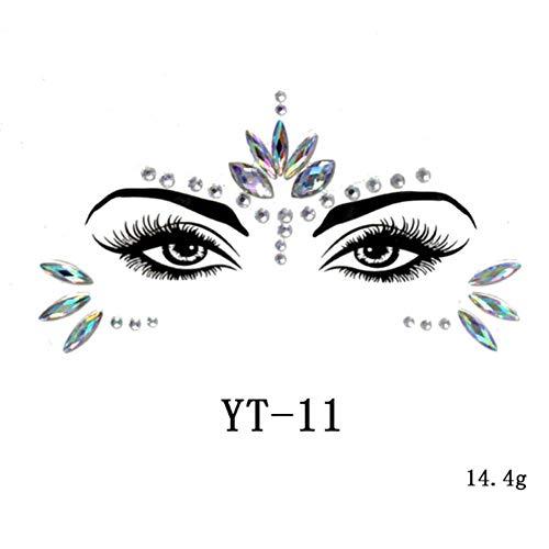 Gesicht Edelsteine Sticker,Temporäre Tattoos Gesichts Aufkleber, Schmucksteine Selbstklebend Gesicht, Glitter Strass Juwelen Face Sticker für Parties, Shows, Make-up (YT-11)
