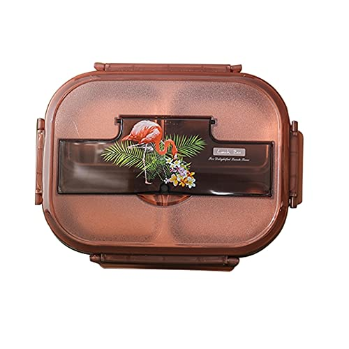Qric Dining box stainless steel tiger lunch box student When the box adult office worker insulation lunch box large capacity separated plate (Color : A)