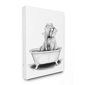 Stupell Industries Elephant in A Tub Funny Animal Bathroom Drawing, Design by Rachel Neiman Wall Art, 16 x 20, Canvas